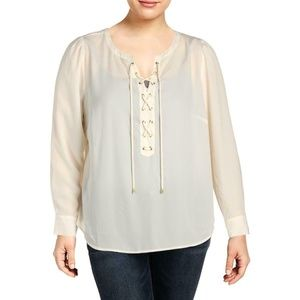 NWT INC Macy's Lace Up Front Blouse Plus 2X Cream